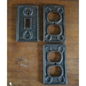 set of three cast iron light swtich plates